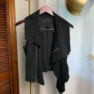 BCBG MaxAzria Asymmetric cropped black vest.